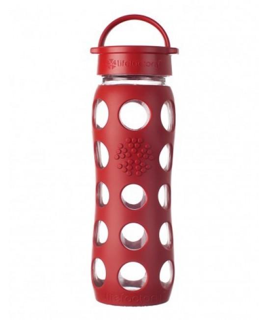 Sticlă LifeFactory (din sticlă) cu manșon de silicon și capac clasic - roșu 650 ml