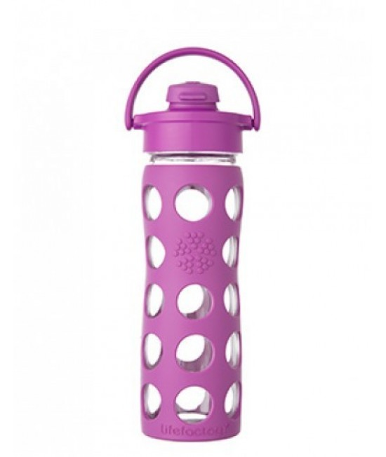 Sticlă LifeFactory (din sticlă) cu manșon de silicon și capac flip-top - roz zmeură 650 ml