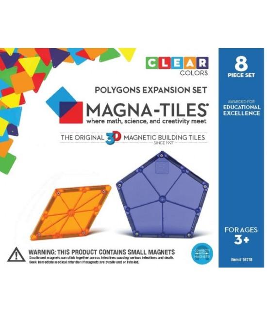 Set Magna-Tiles de extindere - 8 poligoane magnetice de construcție transparente colorate