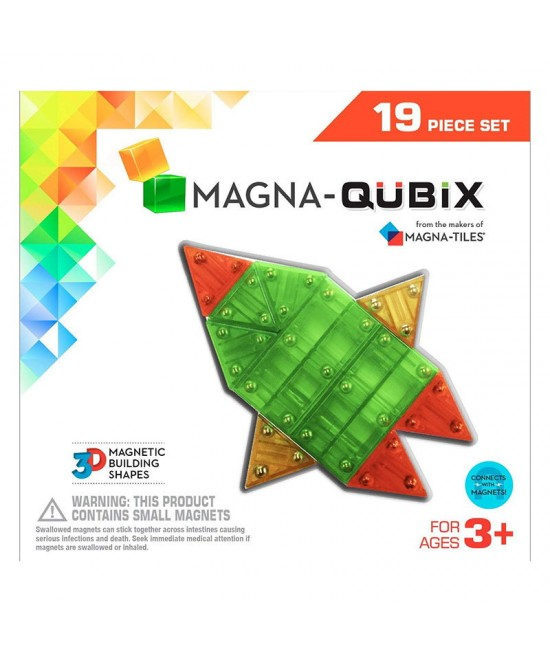 Set Magna-Qubix - 19 piese magnetice de construcție transparente colorate tridimensionale