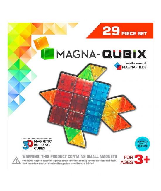 Set Magna-Qubix - 29 piese magnetice de construcție transparente colorate tridimensionale
