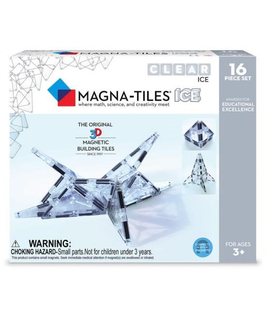 Set Magna-Tiles - 16 piese magnetice de construcție transparente (ICE)