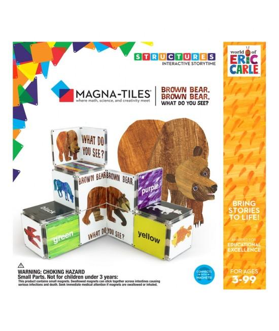 """Set Magna-Tiles Structures CreateOn Eric Carle """"Ursule brun, tu ce vezi?""""  - 16 piese magnetice de construcție imprimate"""
