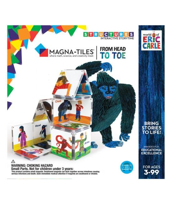 """Set Magna-Tiles Structures CreateOn Eric Carle """"Din cap până în picioare""""  - 16 piese magnetice de construcție imprimate"""