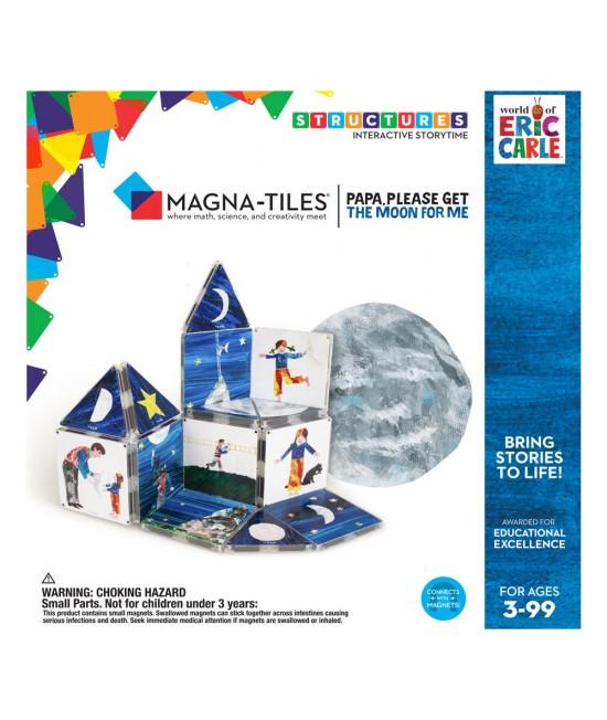 """Set Magna-Tiles Structures CreateOn Eric Carle """"Tati, te rog, adu-mi luna de pe cer""""  - 16 piese magnetice de construcție imprimate"""