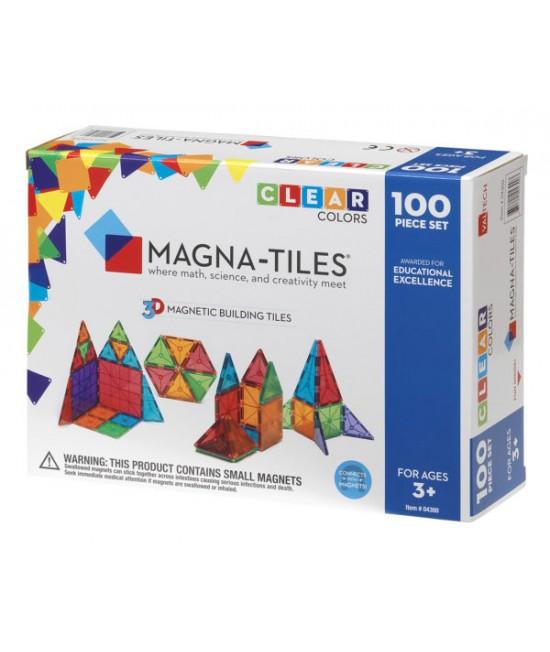 Set Magna-Tiles - 100 piese magnetice de construcție transparente colorate