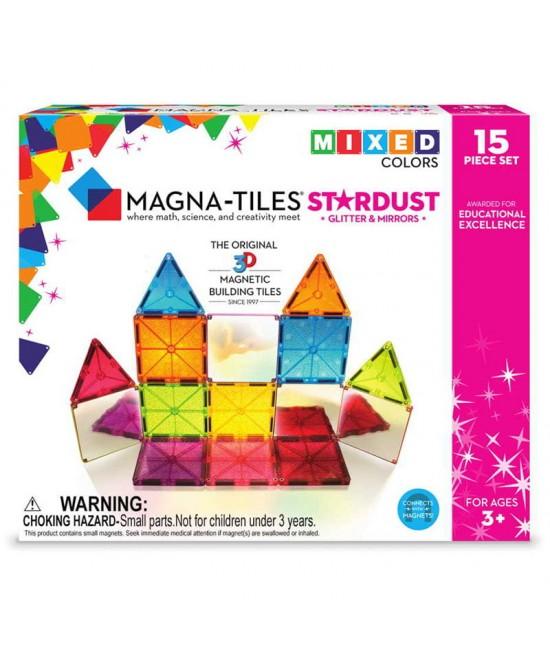 Set Magna-Tiles Stardust - 15 piese magnetice de construcție cu sclipici și oglinzi