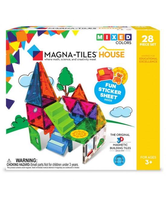 Set Magna-Tiles House - 28 (30) piese magnetice de construcție cu autocolante, scări și ușă