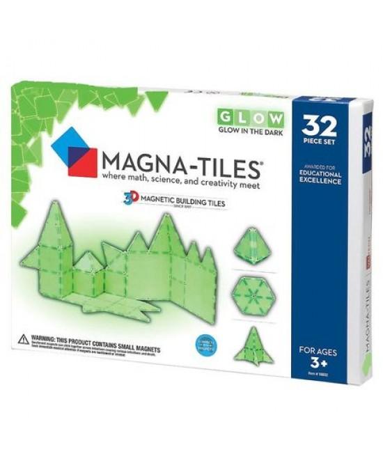 Set Magna-Tiles - 32 piese magnetice de construcție fosforescente (GLOW)