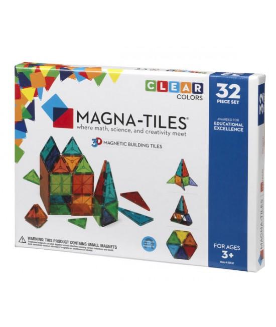 Set Magna-Tiles - 32 piese magnetice de construcție transparente colorate