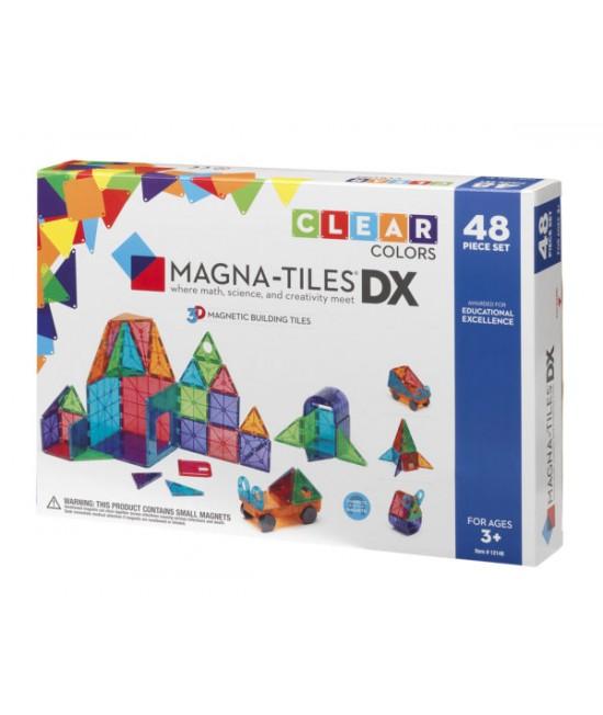 Set Magna-Tiles Deluxe - 48 piese magnetice de construcție transparente colorate