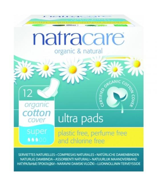 Absorbante naturale super Natracare - 3 picături, ultra (regular), cu aripioare, cu bumbac organic - 12 bucăți