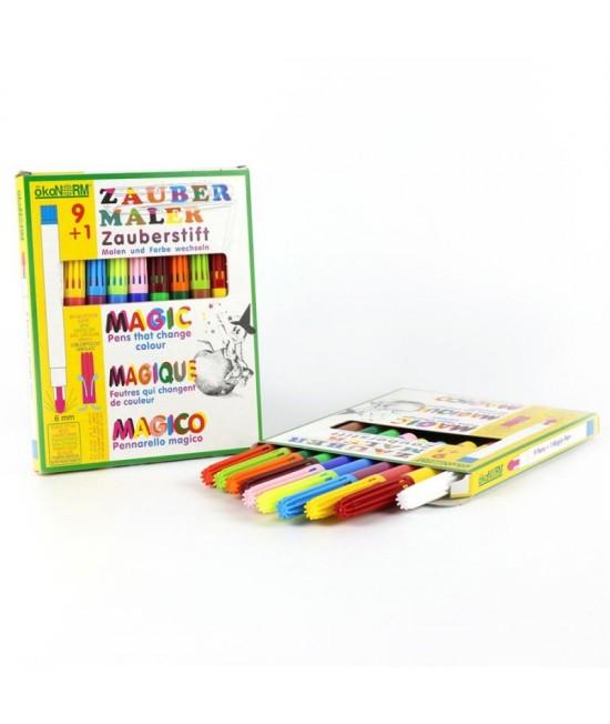 9+1 markere (carioci) magice ECO ökoNORM - 9 culori + 1 marker de schimbare a culorilor