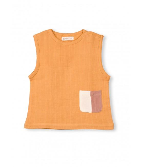 Bluză fără mâneci din muselină de bumbac organic Organic by Feldman - Play of Colors Sun Ochre