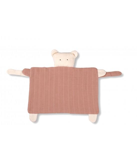 """Jucărie-Ursuleț """"comforter/cuddle-cloth"""" pentru somn, îmbrățișat și liniștire din muselină de bumbac organic Organic by Feldman pentru bebeluși - Play of Colors Sienna Earth"""