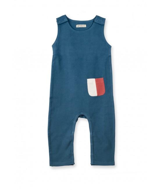 Salopetă fără mâneci din bumbac organic French Terry Organic by Feldman pentru copii - Play of Colors Petrol-Blue