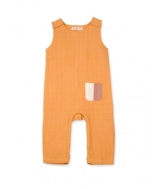 Salopetă fără mâneci din muselină de bumbac organic Organic by Feldman pentru copii - Play of Colors Sun Ochre