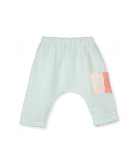 Pantaloni-șalvari din muselină de bumbac organic Organic by Feldman - Play of Colors Glacier
