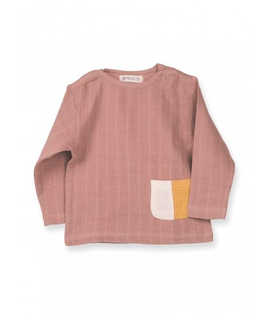 Bluză cu mânecă lungă din muselină de bumbac organic Organic by Feldman - Play of Colors Sienna Earth