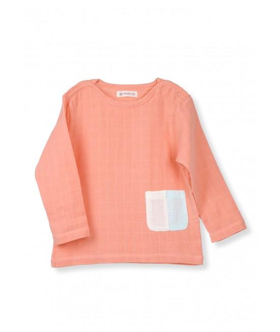Bluză cu mânecă lungă din muselină de bumbac organic Organic by Feldman - Play of Colors Canyon Sunset