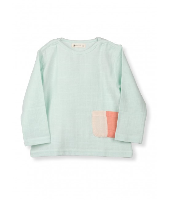 Bluză cu mânecă lungă din muselină de bumbac organic Organic by Feldman - Play of Colors Glacier