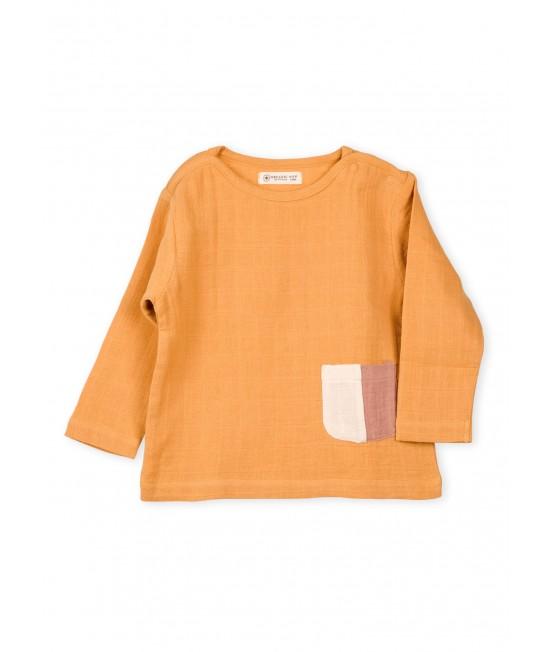 Bluză cu mânecă lungă din muselină de bumbac organic Organic by Feldman - Play of Colors Sun Ochre