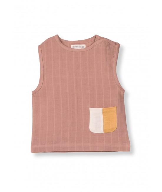 Bluză fără mâneci din muselină de bumbac organic Organic by Feldman - Play of Colors Sienna Earth
