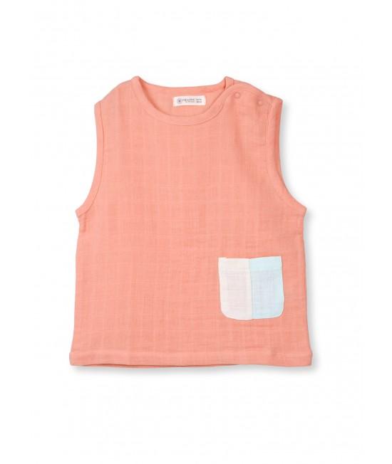 Bluză fără mâneci din muselină de bumbac organic Organic by Feldman - Play of Colors Canyon Sunset