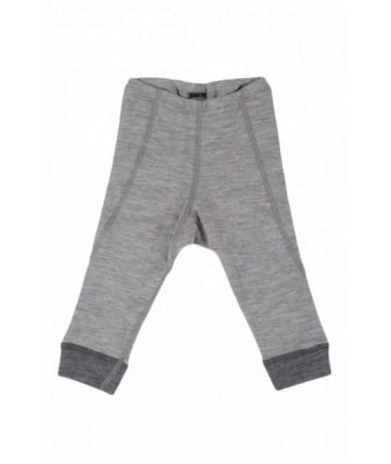 Pantaloni gri (leggings, colanți) din lână Merinos organică Dilling Underwear pentru bebeluși