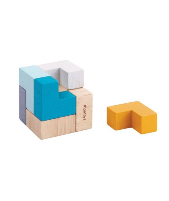 Mini Puzzle 3D din lemn ECO Plan Toys - 9 piese ecologice