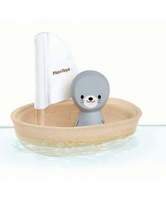 Bărcuță cu focă din lemn ECO Plan Toys - jucărie rezistentă la apă