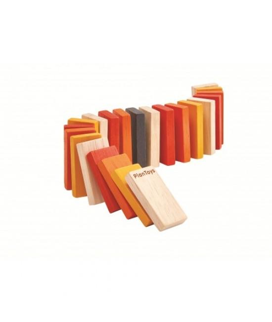 Mini Domino din lemn ECO Plan Toys - 22 de piese ecologice