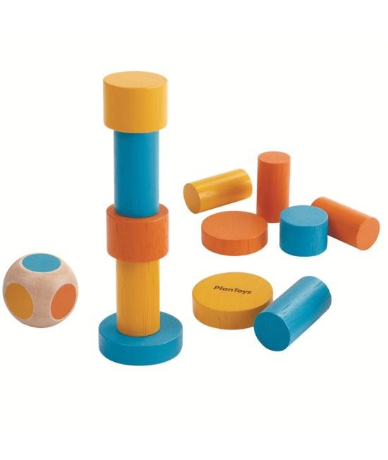 Mini joc de stivuire din lemn ECO Plan Toys (12 piese ecologice + 1 zar)