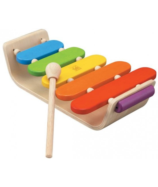 Xilofon oval din lemn ECO Plan Toys - Jucărie muzicală cu 5 note diferite
