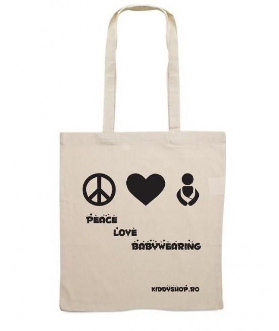 """Plasă din bumbac cu imprimeu """"Peace Love Babywearing"""""""