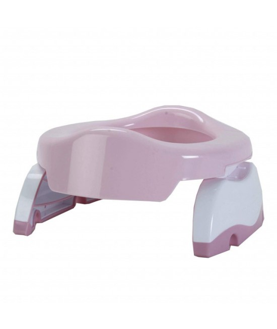 Olița portabilă Potette Plus roz cu alb (2 în 1 oliță și reductor)
