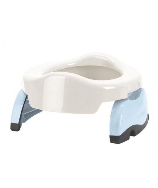 Olița portabilă Potette Plus albă cu bleu (2 în 1 oliță și reductor)
