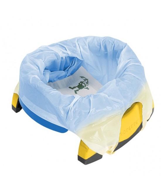 Olița portabilă Potette Plus albastră cu galben (2 în 1 oliță și reductor)