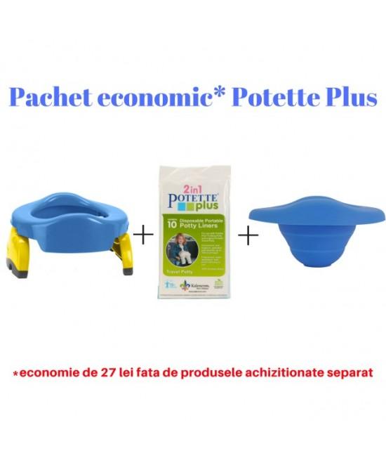 Pachet economic Potette Plus albastru: Olița portabilă Potette + liner din silicon reutilizabil + 10 pungi biodegradabile de unică folosință