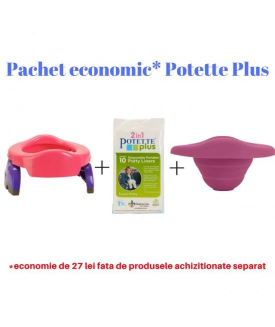 Pachet economic Potette Plus roz: Olița portabilă Potette + liner din silicon reutilizabil + 10 pungi biodegradabile de unică folosință