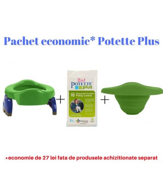 Pachet economic Potette Plus verde: Olița portabilă Potette + liner din silicon reutilizabil + 10 pungi biodegradabile de unică folosință