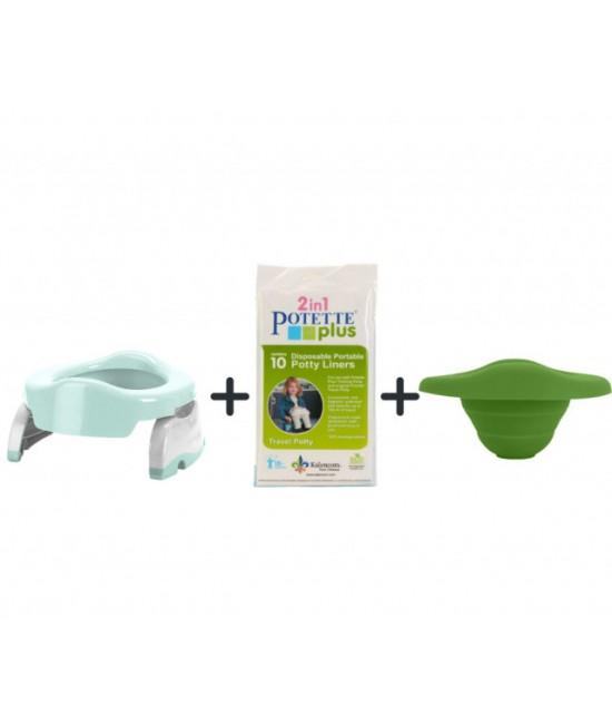 Pachet economic Potette Plus vernil: Olița portabilă Potette + liner din silicon reutilizabil + 10 pungi biodegradabile de unică folosință