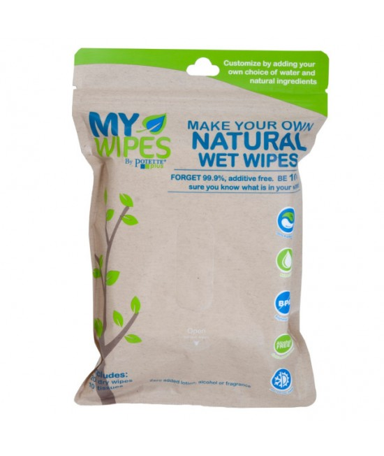 Șervețele 100% naturale neparfumate umede/uscate - My Wipes by Potette Plus