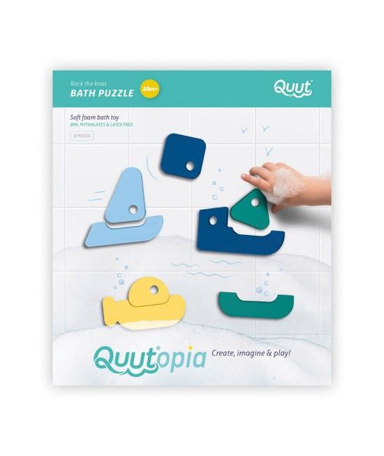 Puzzle pentru baie - set de 8 piese - bărcuțe colorate Quut Toys