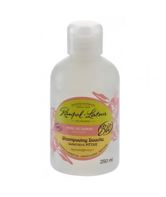 Șampon și gel de duș BIO Rampal Latour hipoalergen cu trandafir de Damasc