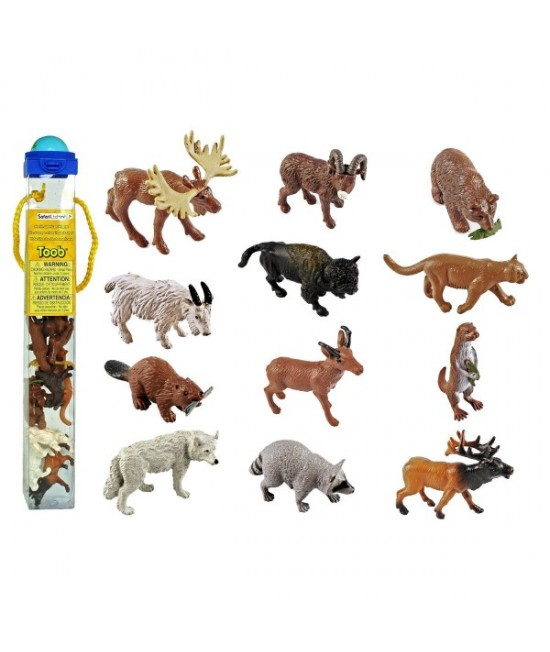 Tub figurine Animale sălbatice din America de Nord Safari Ltd. TOOB®