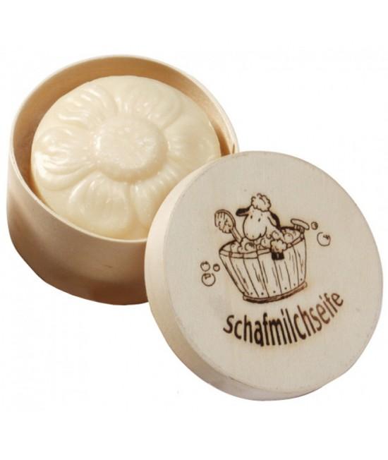 Săpun cremos natural BIO cu lapte de oaie - Floricică Saling Naturprodukte în cutie de lemn - 65 grame