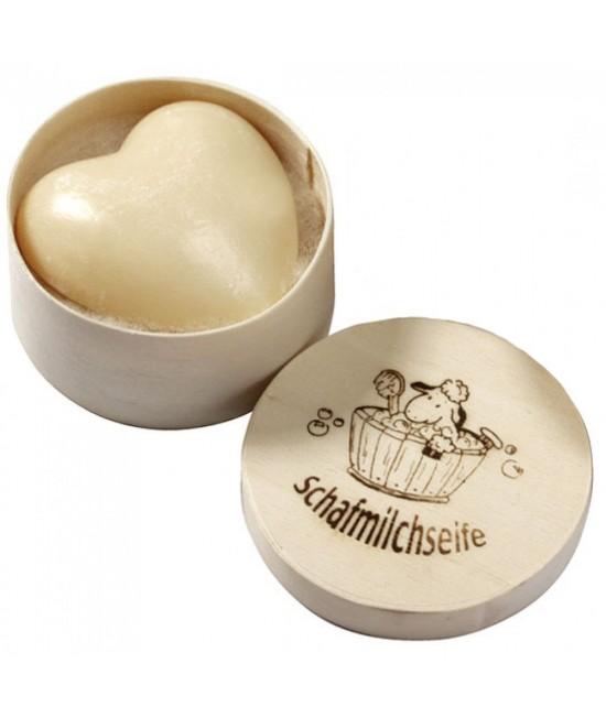 Săpun cremos natural BIO cu lapte de oaie - Inimioară Saling Naturprodukte în cutie de lemn - 65 grame