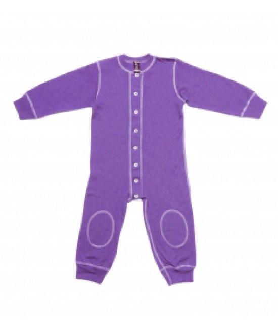 Salopetă - pijama overall mov din lână Merinos organică Dilling Underwear pentru bebeluși