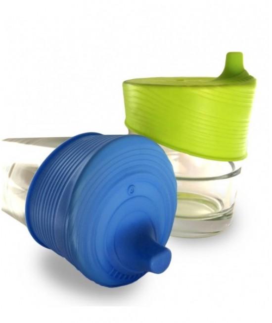 Set 2 capace universale din silicon cu cioc pentru căni și pahare - Silikids - Blue & Lime